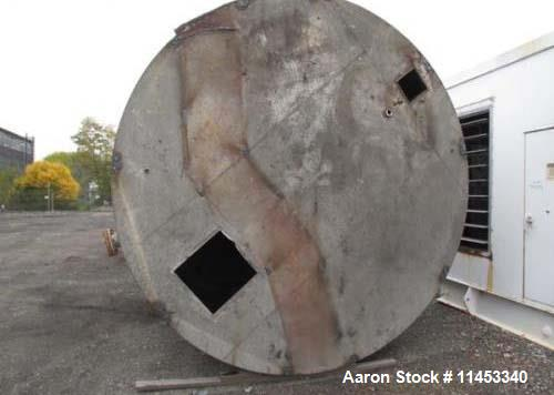 """Used- 10,000 Gallon Stainless Steel Tank. Approximate 137"""" diameter x 161"""" straight side, flat top and bottom. 30"""" side bott..."""