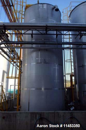 Used- 14,000 Gallon Ripley Stainless Tank. 304L stainless steel construction, 10' diameter x 24' straight side, flat bottom....