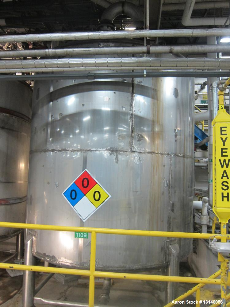 Used- 316L Stainless Steel Vertical Storage Tank, 10,500 Gallon