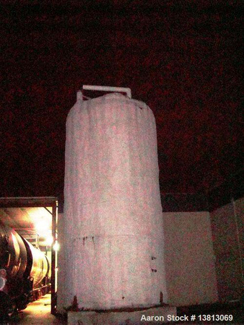 Used-20,000 Gallon Stainless Steel Storage Tank. Flat top and bottom, side discharge. Approximately 12' in diameter x 25' ov...