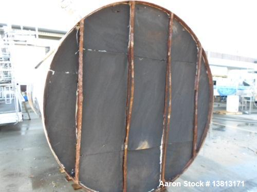 Used- 6000 Gallon Stainless Steel Storage Tank. Approximately 94'' diameter, 16' straight wall, side manhole.  Inlets 3-1.5'...
