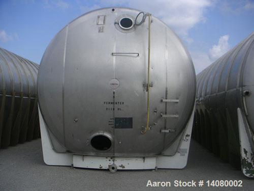 "Unused-Tank, 55,968 gallon 304 SS Horizontal on carbon steel cradle frame. Flat horizontal bottom, dished heads. 1/8"" wall."