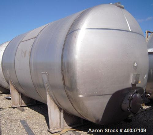 """Used: R.A.S. Process Equipment pressure tank, 9000 gallon, 316L stainless steel, horizontal. Approximately 114"""" diameter x 1..."""