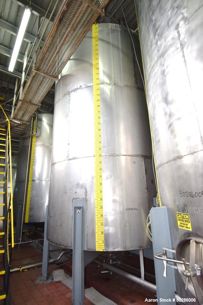 """Used- Tank, 8,000 Gallon, Stainless Steel, Vertical. Approximate 112"""" diameter x 180"""" straight side, flat top, coned bottom...."""