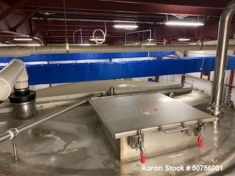"""Used-Vertical Tank, Approximately 5,000 Gallon, Stainless Steel, 100.5"""" diameter, 120.5"""" straight side height. 64.5"""" conical..."""