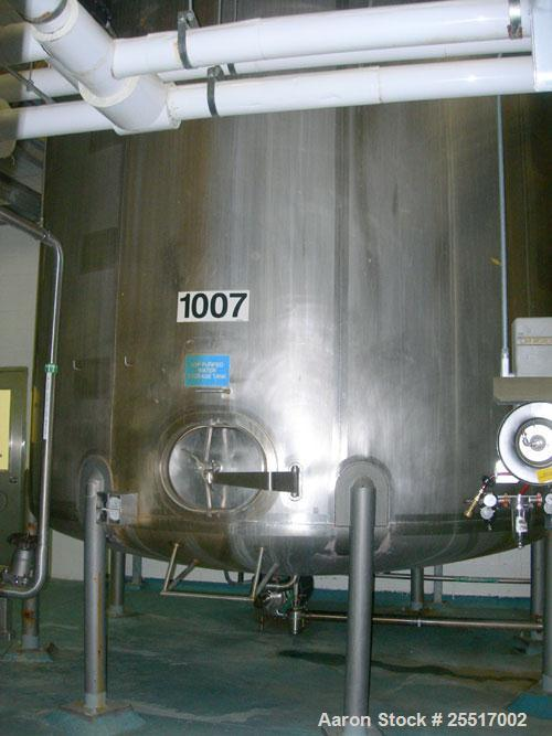 """Used-Used- Walker Tank, 10,000 Gallon 316 Stainless Steel Tank, Approx. 12' diameter x 11' 6"""" straight side. Dished top & Bo..."""