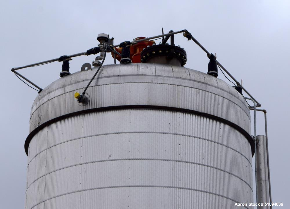 """Used- A&B Process Tank, Approximate 20,000 Gallon, 316L Stainless Steel, Vertical. Approximate 156"""" diameter x 240"""" straight..."""