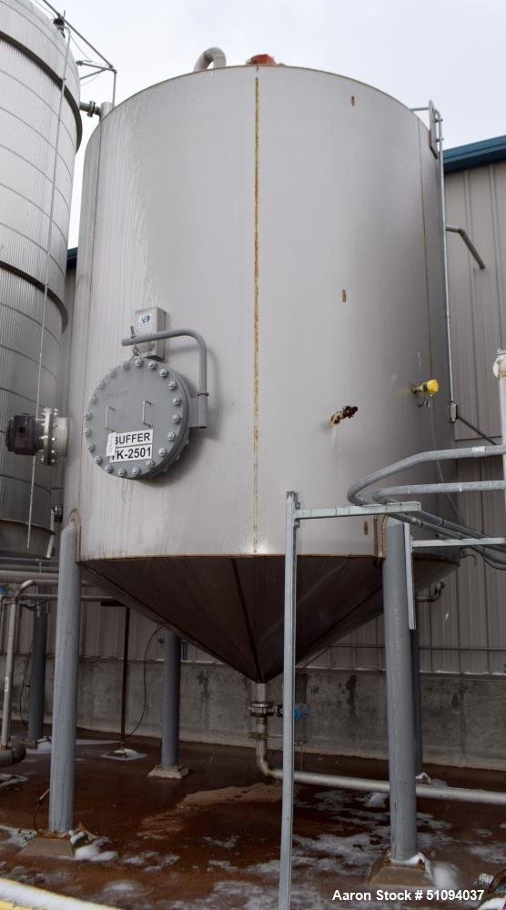 """Used- A&B Process Tank, Approximate 9,000 Gallon, 304L Stainless Steel, Vertical. Approximate 132"""" diameter x 144"""" straight ..."""