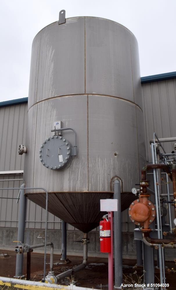 "Used- A&B Process Tank, Approximate 14,000 Gallon, 304L Stainless Steel, Vertical. Approximate 144"" diameter x 192"" straight..."