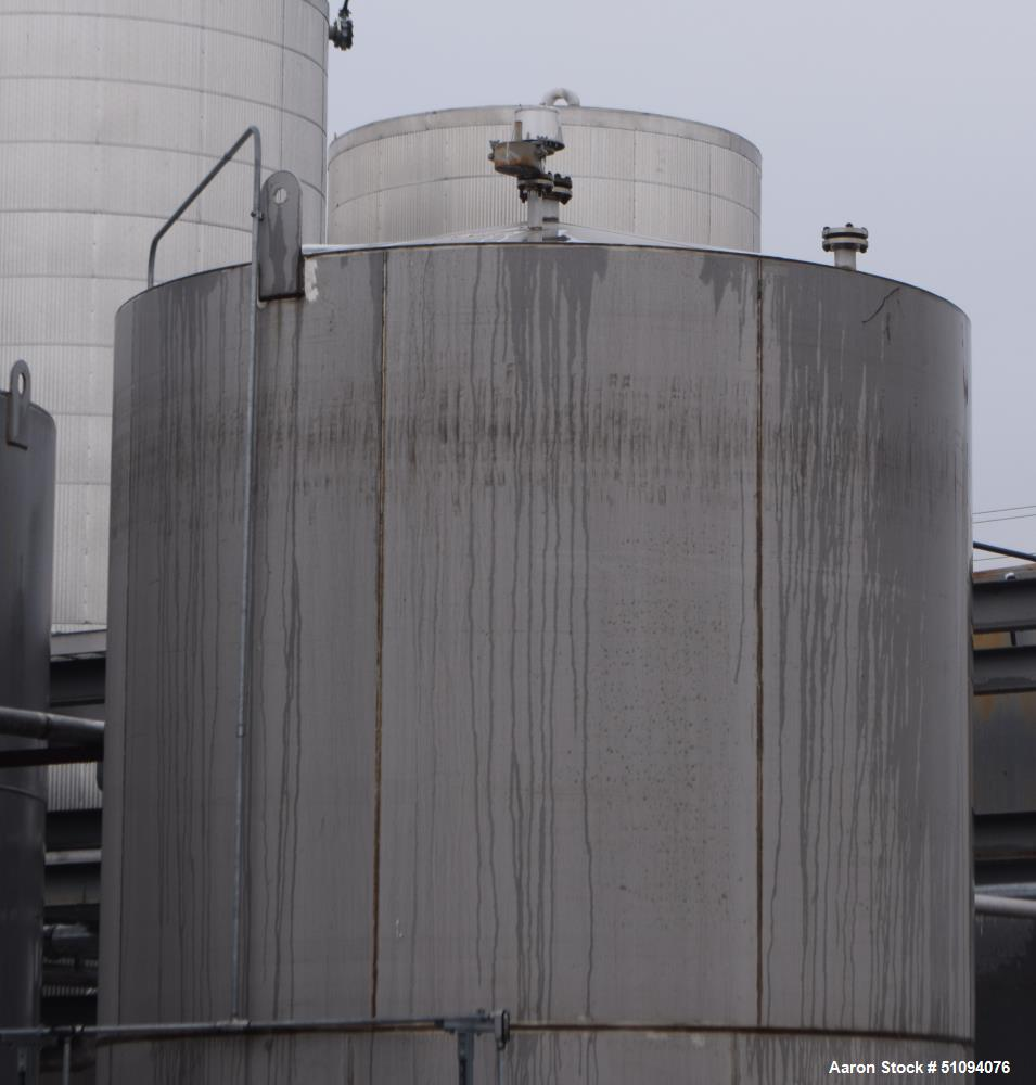 """Used- A&B Process Tank, 15,000 Gallon, 304L Stainless Steel, Vertical. Approximate 144"""" diameter x 216"""" straight side, top, ..."""
