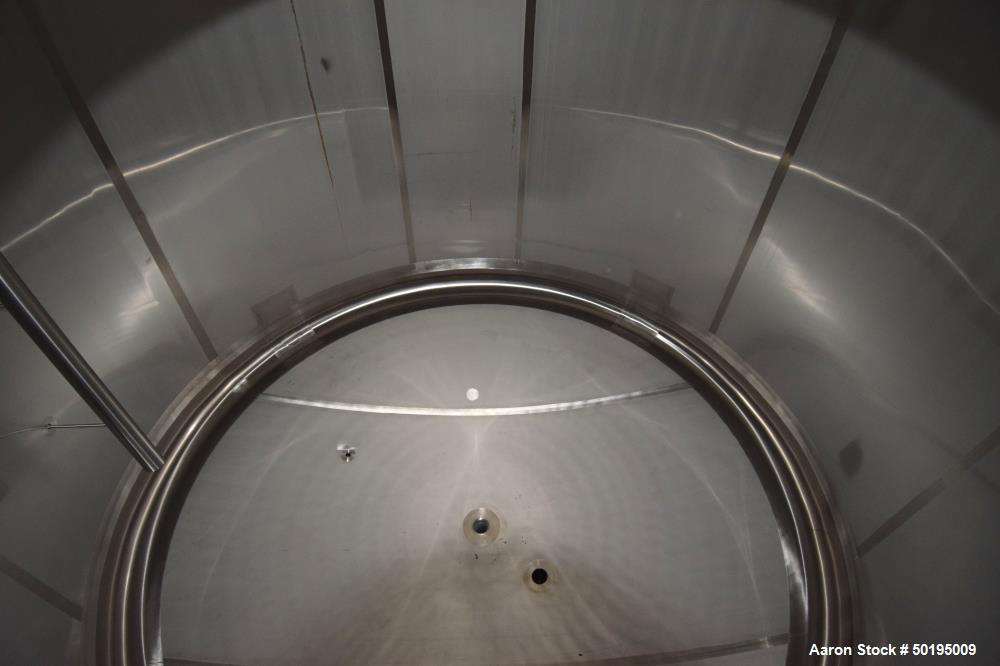 "Used-Apache Stainless Tank, 7000 Gallon, 316L Stainless Steel, Vertical. 144"" Diameter x 84"" straight side, dished top & bot..."