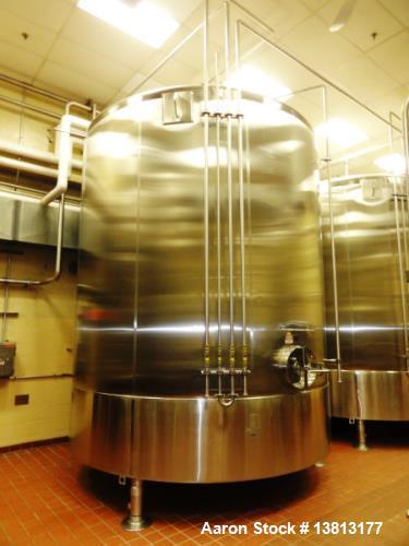 "Used- Cherry Burrell 9,000 Gallon Vertical Mixing Tank, Model 9000CV. 7.5hp bottom side agitator, 13' 3"" straight wall x 16'..."