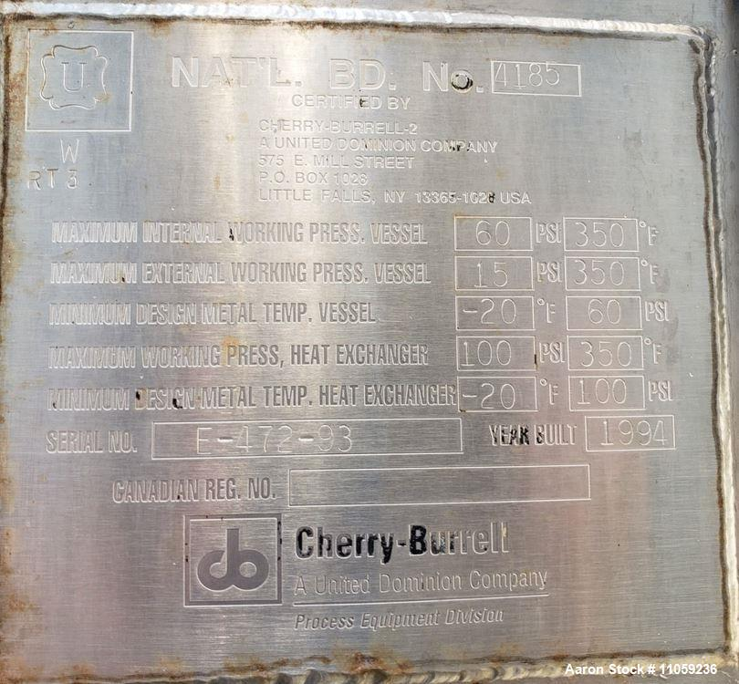 Used- Cherry Burrell Stainless Steel Jacket Vacuum Rated Mix Tank/Reactor