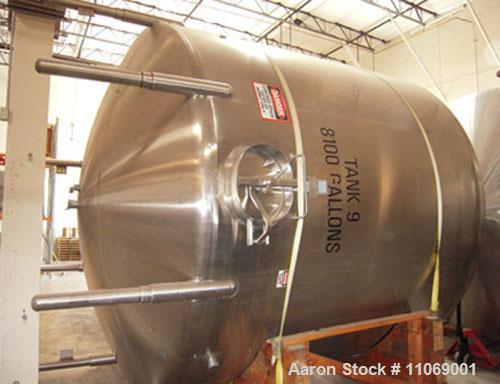 "Unused-Cherry Burrell 8,000 gallon, 304 stainless steel #4 finish inside, vertical tank, 136"" inside diameter x 114"" straigh..."