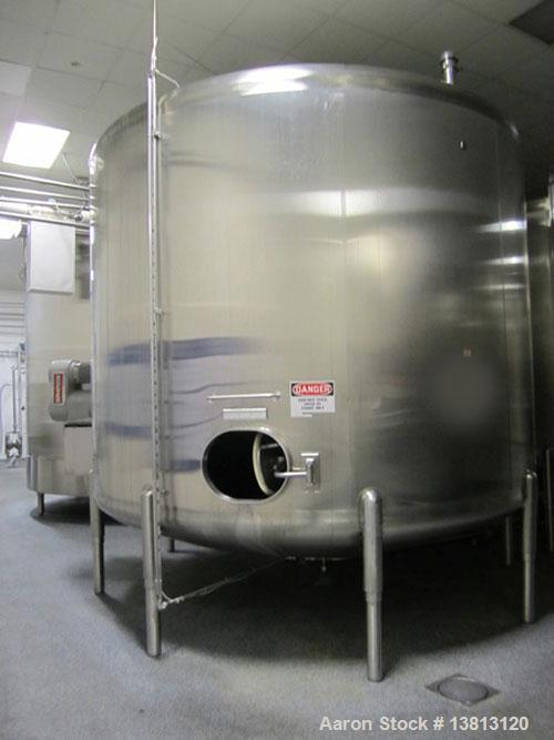 """Used-Cherry Burrell 8,000 Gallon Side Agitated Stainless Steel Tank.  Dished heads.  Approximately 12' diameter x 8'6"""" strai..."""