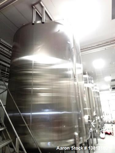 """Used- Cherry Burrell 6,000 Gallon Top Agitated Tank. Top mounted agitator vertical single wall stainless steel tank. 9'-6"""" d..."""