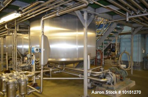 Used- Crepaco 6,000 Gallon (Approximately) Vertical Stainless Steel Single Wall Tank. Dome top, dished bottom center. Bridge...