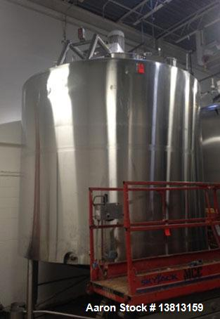 Used- Crepaco 6000 Gallon Jacketed Tank with Scrape Agitation. Stainless steel cone bottom tank. Sweep scrape agitated, driv...