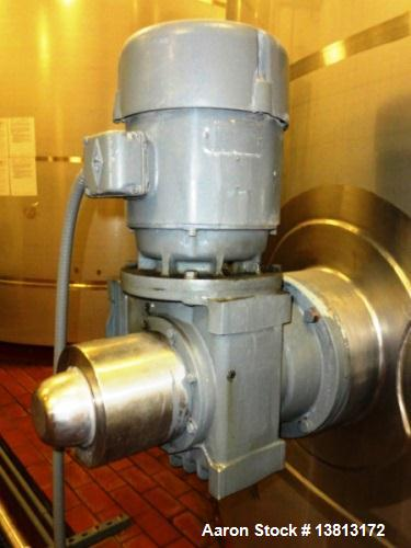 Used- 10,000 Gallon Vertical, Stainless Steel. Domed top, sloped bottom mixing tank with vent on top, bottom side manway. Bo...