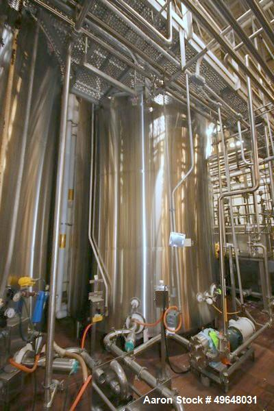 Used- DCI 7,500 Gallon Jacketed Mix Tank, 316L Stainless Steel