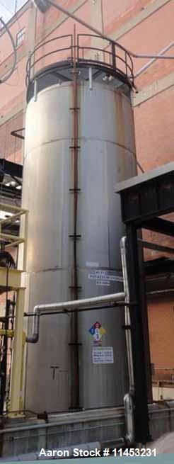 """Used- 25,000 Gallon Enerfab Storage Tank. 304L stainless steel construction. Approximately 12' diameter x 29'10"""" straight si..."""