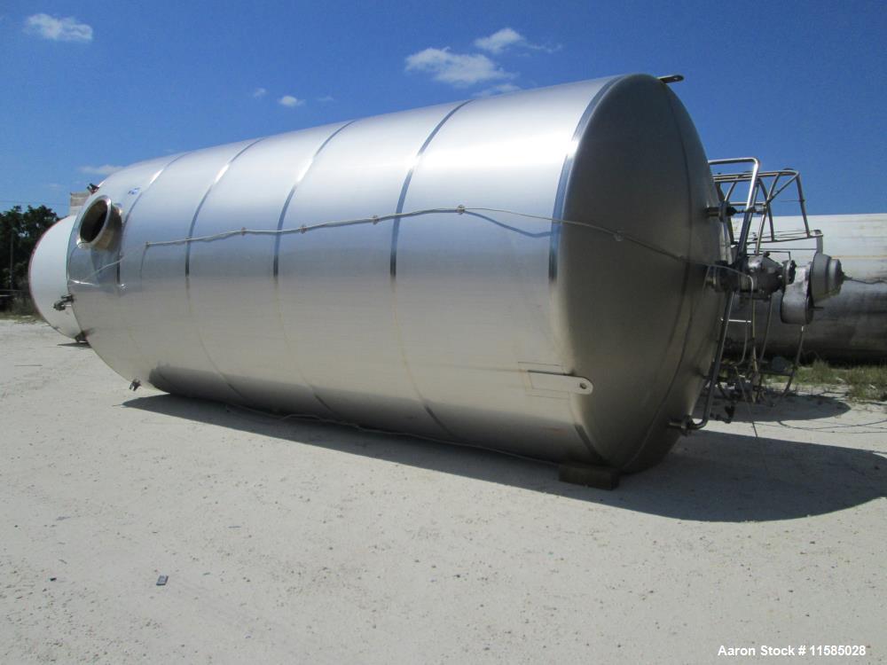 "Used- 20,000 Gallon Feldmeier Vertical 304 Stainless Steel Storage Tank. 2B Finish. 142"" diameter x 25' straight side. Flat ..."