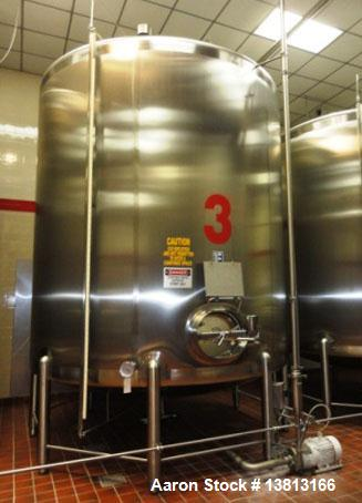 """Used- 6,000 Gallon Top Agitated Mixing Tank. Single shell top agitated mixing tank with dual 28"""" paddles. Dish top and botto..."""