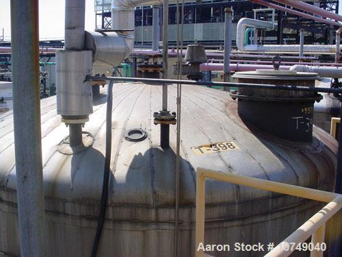 Used-Industrial Alloy 12,000 Gallon, 316L Stainless Steel, Storage Tank. 12' diameter x 15' long. Internal atmosphere rated ...