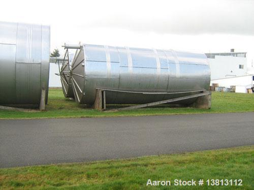 """Used-J&S 20,000 Gallon Stainless Steel Tank.  12'6"""" Wide x 28'2"""" tall, 5500 lbs, with spreader bar and rigging, 304 stainles..."""