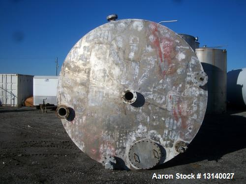 """Used- Joseph Oat and Sons Vertical Storage Tank. Approximately 8000 gallon, stainless steel. 10' diameter x 13'-6"""" high stra..."""