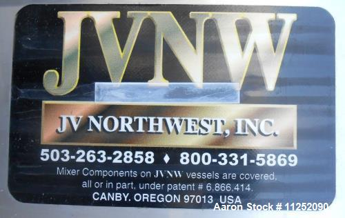 Used JV Northwest stainless steel tank, approximately 6,250 gallon capacity