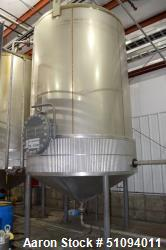 "Used- A&B Process Tank, Approximate 5000 Gallon, 304L Stainless Steel, Vertical. Approximate 102"" diameter x 144"" straight s..."