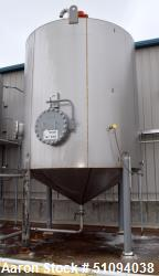 "Used- A&B Process Tank, Approximate 9,000 Gallon, 304L Stainless Steel, Vertical. Approximate 132"" diameter x 144"" straight ..."