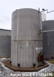 "Used- A&B Process Tank, 15,000 Gallon, 304L Stainless Steel, Vertical. Approximate 144"" diameter x 216"" straight side, top, ..."