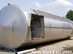 Used-Feldmeier 25,000 Gallon 304 Stainless Steel Polished Vertical Vacuum Tank. Aseptic VSP. Insulated and sheathed in stain...
