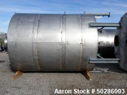 "Used- Perry Products Tank, 5,200 Gallon, 304 Stainless Steel, Vertical. Approximate 106"" diameter x 132"" straight side, cone..."