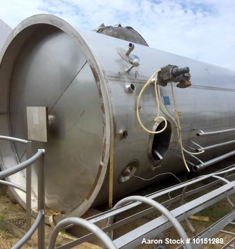 "Used- Mueller 6000 Gallon Vertical 316 Stainless Steel Jacketed Tank. Sanitary polished, interior, 7'4"" diameter x 20' strai..."