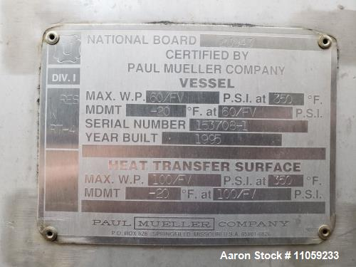 Used- Mueller Sanitary Jacket Vacuum Rated Reactor / Fermenter / Pasteurizer