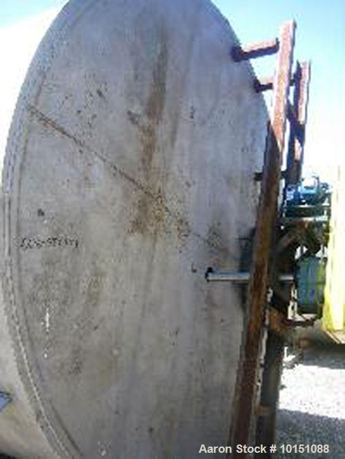 "Used-Approximately 8,000 Gallon Vertical 304 Stainless Steel Tank. 9'6"" Diameter x 16'4"" straight side. With bridge mounted ..."