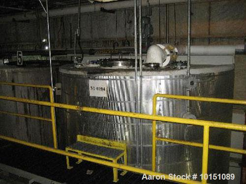 "Used-Approximately 8,000 Gallon Vertical 304 Stainless Steel Tank. 9'6"" Diameter x 16'4"" straight side. With flat top and bo..."