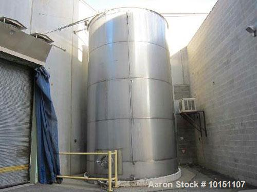 "Used-Approximately 20,000 gallon vertical stainless steel storage tank.13' Diameter x 20' straight side.20"" x 16"" front manh..."