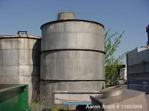 "Used- Tank, 10,875 Gallon, 316 Stainless Steel, Vertical. 11'6"" diameter x 14'2"" straight side, flat top, flat bottom, 18"" t..."