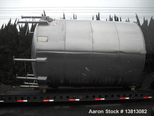 """Used-14,000 Gallon Stainless Steel, Vertical Mixing Tank, Bottom Side Agitator, 23'L x 11'11"""" W x 13'5"""" Tall."""