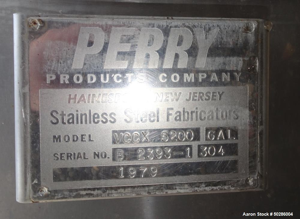 """Used- Perry Products Tank, 5,200 Gallon, Model VCCX, 304 Stainless Steel, Vertical. Approximate 106"""" diameter x 132"""" straigh..."""