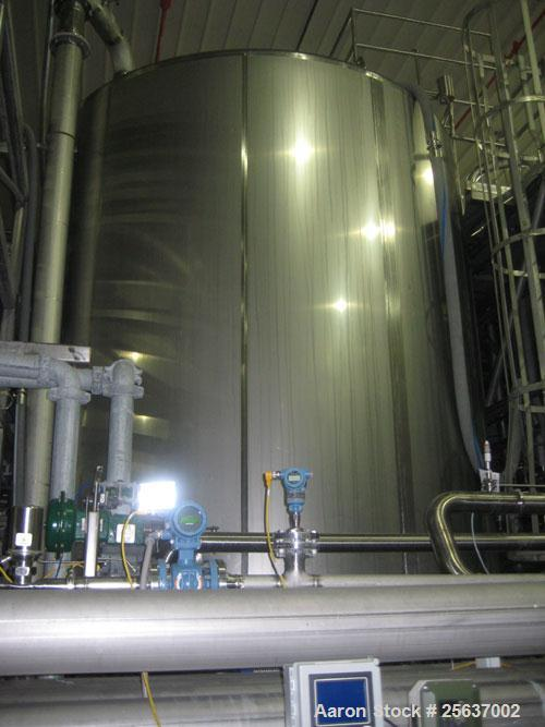 """Used- Stainless Fabrication Tank, 15,000 gallon, 316L stainless steel. 158"""" diameter x 167"""" straight side, dished top and bo..."""