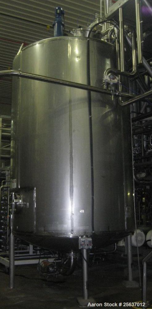 """Used- Stainless Fabrication Tank, 5,000 gallon, 316L stainless steel. 96"""" diameter x 164"""" straight side, dished top and bott..."""