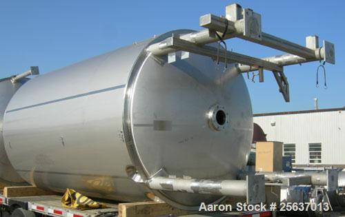 "Used- Stainless Fabrication Tank, 5,000 gallon, 316L stainless steel. 96"" diameter x 164"" straight side, dished top and bott..."
