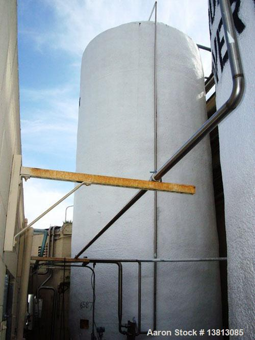 Used-Valley Foundry 13,000 Gallon Vertical Stainless Insulated Tank. Vertical flat bottom tank with spray-on insulation and ...