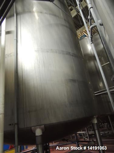 Used- 10,000 Gallon Walker Stainless Steel Jacketed Mix Tank. T316 SS inner shell. T304 SS Jacket. Model 8316-6. Dimensions ...