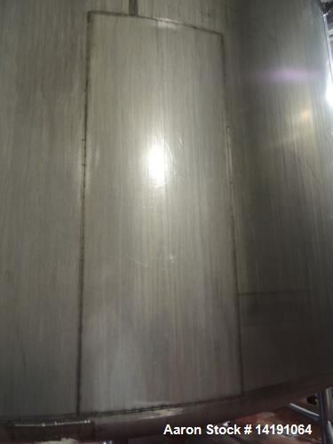Used- 10,000 Gallon Walker Stainless Steel Jacketed Mix Tank. T316 SS inner shell. T304 SS Jacket. Model 8316-4. Dimensions ...